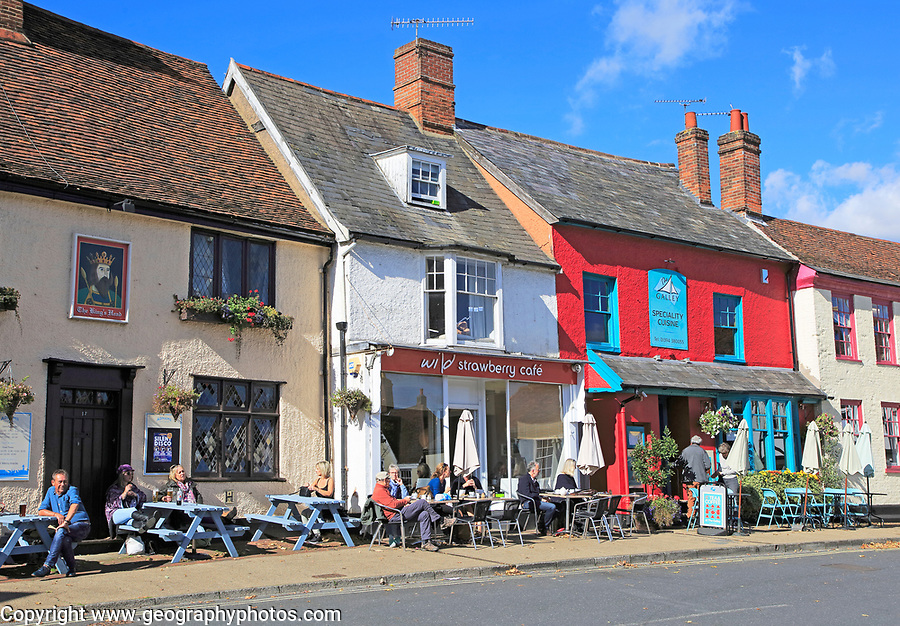 Wild Strawberry cafe and the Galley restaurant, Woodbridge, Suffolk, England, UK people sitting outside on sunny day