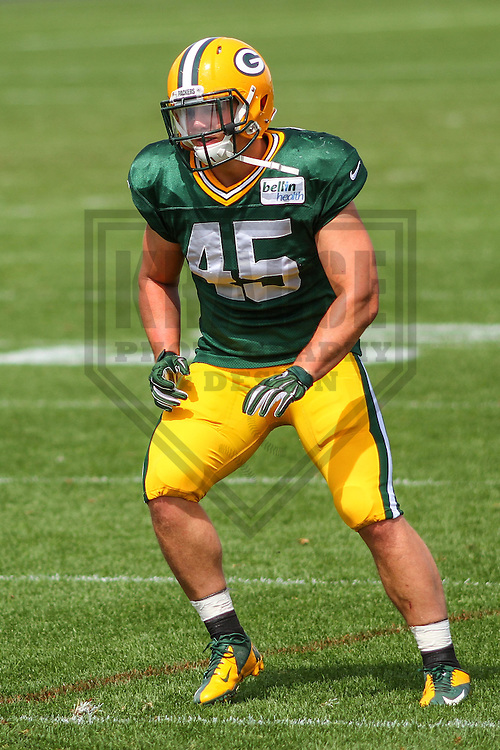 GREEN BAY - August 2014: Jake Doughty (45) of the Green Bay Packers during a training camp practice on August 25th, 2014 at Ray Nitschke Field in Green Bay, Wisconsin.  (Photo Credit: Brad Krause)