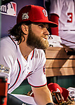 6 October 2017: Washington Nationals outfielder Bryce Harper sits in the dugout awaiting the start of the NLDS against the Chicago Cubs at Nationals Park in Washington, DC. The Cubs shut out the Nationals 3-0 to take a 1-0 lead in their best of five Postseason series. Mandatory Credit: Ed Wolfstein Photo *** RAW (NEF) Image File Available ***
