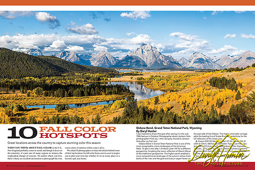 A two page spread if Outdoor Photographer Magazine of mine