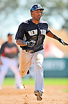 8 March 2011: New York Yankees' infielder Eduardo Nunez hustles to third during a Spring Training game against the Atlanta Braves at Champion Park in Orlando, Florida. The Yankees edged out the Braves 5-4 in Grapefruit League action. Mandatory Credit: Ed Wolfstein Photo