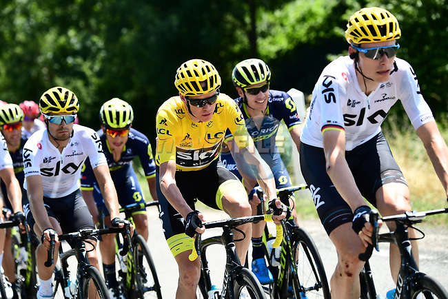 Race leader Christopher Froome (GBR) Team Sky during Stage 6 of the 104th edition of the Tour de France 2017, running 216km from Vesoul to Troyes, France. 6th July 2017.<br /> Picture: ASO/Alex Broadway | Cyclefile<br /> <br /> <br /> All photos usage must carry mandatory copyright credit (&copy; Cyclefile | ASO/Alex Broadway)