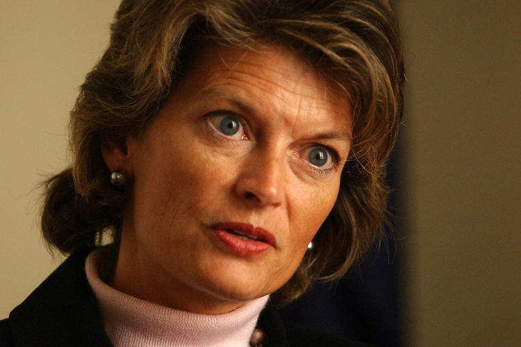 murkowski3/011603 -- Sen. Lisa Murkowski, R-Alaska, is interviewed by Roll Call, in her Hart Building office.