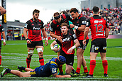 June 3rd 2017, AMI Stadium, Christchurch, New Zealand; Super Rugby; Crusaders versus Highlanders;  Crusaders celebrates Mitchell Drummond of the Crusaders try during the Super Rugby match