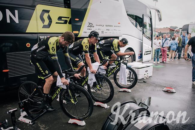 Luke Durbridge (AUS/Mitchelton-Scott), Michael Hepburn (AUS/Mitchelton Scott) & Jack Bauer (NZL/Mitchelton-Scott) warming up for the TT<br /> <br /> Stage 20 (ITT): Saint-Pée-sur-Nivelle >  Espelette (31km)<br /> <br /> 105th Tour de France 2018<br /> ©kramon