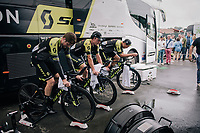 Luke Durbridge (AUS/Mitchelton-Scott), Michael Hepburn (AUS/Mitchelton Scott) & Jack Bauer (NZL/Mitchelton-Scott) warming up for the TT<br /> <br /> Stage 20 (ITT): Saint-Pée-sur-Nivelle >  Espelette (31km)<br /> <br /> 105th Tour de France 2018<br /> ©kramon