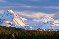 69ORCAC_03 - USA, Oregon, Three Sisters Wilderness, Evening light on North (left) and Middle Sister (right) with autumn snow above conifers and lava flow, near McKenzie Pass.