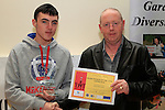 Tony O'Brien presents the Rebecca O'Brien Award for Young Person of the Year 2012 to Sean McGlone at the Boyne Garda Youth Project Awards in the Holy Family Community Centre...Photo NEWSFILE/Jenny Matthews..(Photo credit should read Jenny Matthews/NEWSFILE)