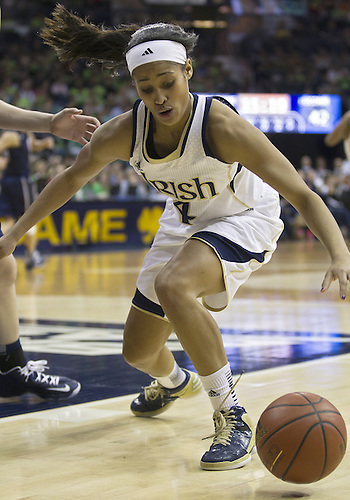 March 04, 2013:  Notre Dame guard Skylar Diggins (4) grabs the loose ball during NCAA Basketball game action between the Notre Dame Fighting Irish and the Connecticut Huskies at Purcell Pavilion at the Joyce Center in South Bend, Indiana.  Notre Dame defeated Connecticut 96-87 in triple overtime.