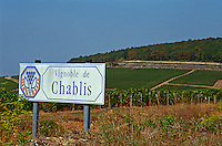 Sign indicating the vineyards and district of Chablis