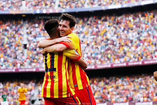 "(L-R) Neymar, Lionel Messi (Barcelona), SEPTEMBER 13, 2014 - Football / Soccer : Spanish Primera Division ""Liga BBVA"" match between FC Barcelona 2-0 Athletic Bilbao at Camp Nou stadium in Barcelona, Spain. (Photo by D.Nakashima/AFLO)"