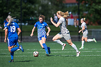 Boston, MA - Saturday June 24, 2017: Morgan Andrews and Samantha Mewis during a regular season National Women's Soccer League (NWSL) match between the Boston Breakers and the North Carolina Courage at Jordan Field.