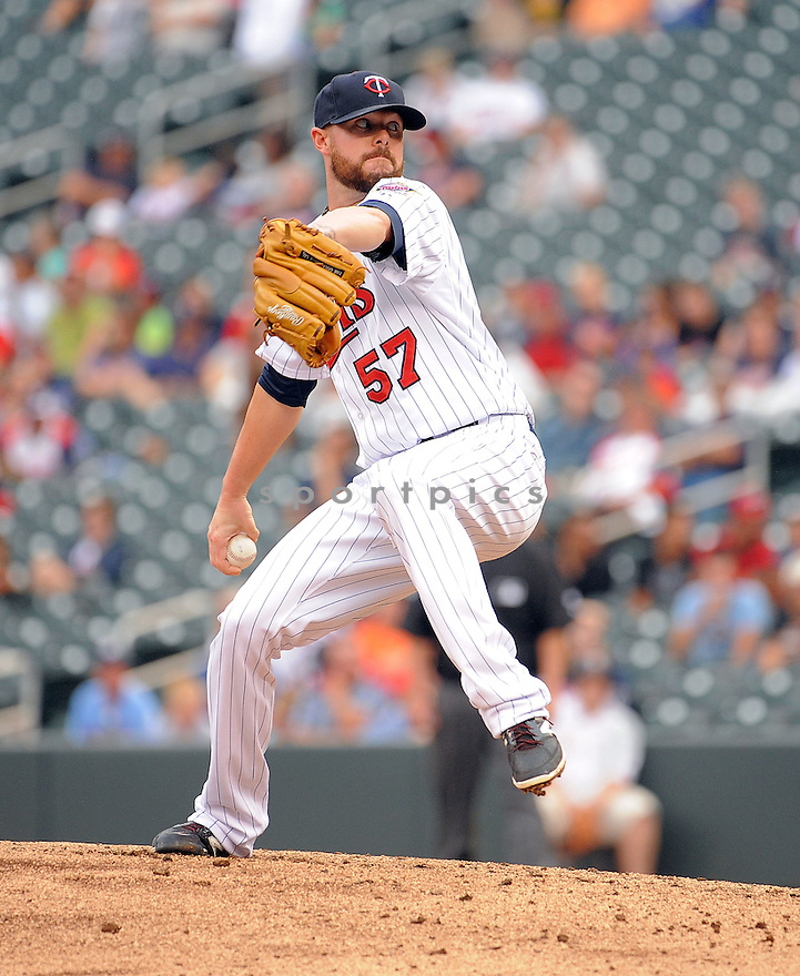 Minnesota Twins Ryan Pressly (57) during a game against the Kansas City Royals on August 17, 2014 at Target Field in Minneapolis, MN. The Royals beat the Twins 12-6.