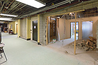 Central High School Bridgeport CT Expansion & Renovate as New. State of CT Project # 015-0174. One of 80 Photographs of Progress Submission 17, 30 June 2016. Temporary Classrooms at Library, First Level.