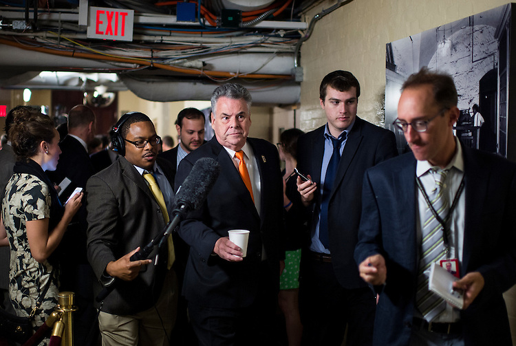 UNITED STATES - OCTOBER 4: Rep. Peter King, R-N.Y., speaks with reporters as he leaves the House Republican Conference meeting in the basement of the Capitol on Friday, Oct. 4, 2013.  (Photo By Bill Clark/CQ Roll Call)