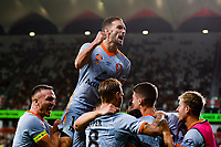 1st January 2020; Bankwest Stadium, Parramatta, New South Wales, Australia; Australian A League football, Western Sydney Wanderers versus Brisbane Roar; Jack Hingert of Brisbane Roar celebrates with teammates after they take the lead for 2-1 - Editorial Use