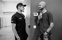 Tom Boonen visiting Matteo Trentin (ITA/Mitchelton-Scott) at the Team Mitchelton-Scott press conference 1 day ahead of the 106th Tour de France 2019 (2.UWT) 'Grand Départ' in Brussels<br /> <br /> ©kramon