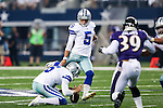 Dallas Cowboys kicker Dan Bailey (5) and Dallas Cowboys punter Chris Jones (6) in action during the pre-season game between the Baltimore Ravens and the Dallas Cowboys at the AT & T stadium in Arlington, Texas. The Ravens lead Dallas 24 to 10 at half time.