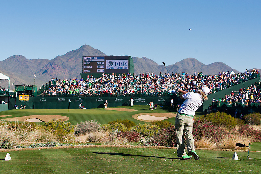 Jan 31, 2009; Scottsdale, AZ, USA; Charley Hoffman (USA) hits his tee shot on the 16th hole during the third round of the FBR Open at the TPC Scottsdale.