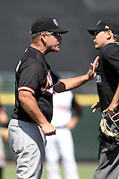 Norfolk Tides manager Gary Allenson #6 argues a call with home plate umpire Gerard Ascani during a game against the Rochester Red Wings at Frontier Field on June 5, 2011 in Rochester, New York.  Norfolk defeated Rochester 11-5 in eleven innings.  Photo By Mike Janes/Four Seam Images