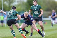 Billy Robinson of Nottingham Rugby (14) looks for a way past Alec Coombes of London Scottish (2nd right) during the Greene King IPA Championship match between London Scottish Football Club and Nottingham Rugby at Richmond Athletic Ground, Richmond, United Kingdom on 15 April 2017. Photo by David Horn.