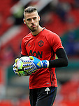 David De Gea of Manchester United warms up during the Premier League match at Old Trafford Stadium, Manchester. Picture date: September 24th, 2016. Pic Sportimage
