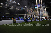 Pre match pyrotechnic display<br /> <br /> <br /> Jeff Thomas Photography<br /> www.jaypics.photoshelter.com<br /> e-mail swansea1001@hotmail.co.uk<br /> Mob: 07837 386244<br /> <br /> Supporters of Juventus and Real Madrid enjoying the atmosphere at the National Stadium of Wales before the UEFA Champions League Final on Saturday 3rd June 2017