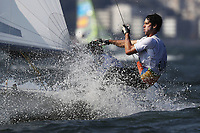 RIO DE JANEIRO, BRAZIL - AUGUST 18:  Stuart McNay of the United States and Dave Hughes of the United States compete in the Men's 470 class at the Marina da Gloria on Day 13 of the 2016 Rio Olympic Games on August 18, 2016 in Rio de Janeiro, Brazil.  (Photo by Clive Mason/Getty Images)