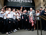 Kevin McCabe acknowledges the players during the open top bus parade from Bramall Lane Stadium to Sheffield Town Hall, Sheffield. Picture date: May 2nd 2017. Pic credit should read: Simon Bellis/Sportimage