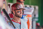 15 September 2013: Philadelphia Phillies infielder Kevin Frandsen stands ready in the dugout during a game against the Washington Nationals at Nationals Park in Washington, DC. The Nationals took the rubber match of their 3-game series 11-2 to keep Washington's wildcard hopes alive. Mandatory Credit: Ed Wolfstein Photo *** RAW (NEF) Image File Available ***