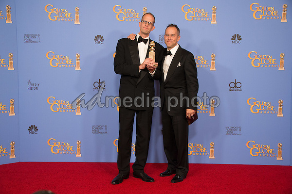 "For BEST ANIMATED FEATURE FILM, the Golden Globe is awarded to ""Inside Out,"" directed by Pete Docter and Ronnie Del Carmen. Pete Docter and Jonas Rivera pose with the award backstage in the press room at the 73rd Annual Golden Globe Awards at the Beverly Hilton in Beverly Hills, CA on Sunday, January 10, 2016. Photo Credit: HFPA/AdMedia"