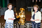 Mary Healy and Pauline Lyne with the relic of St Anthony in St Mary's Cathedral on Friday