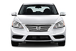 Car photography straight front view of a2014 Nissan Sentra SV 4 Door Sedan Front View