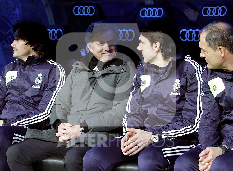 Real Madrid's Jose Mourinho and Karanka during La Liga BBVA match. March 16, 2013.(ALTERPHOTOS/Alconada)