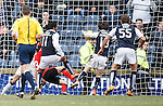 Harry Panayiotou stabs the ball past Rangers keeper Wes Foderingham to deny the league title to the Ibrox man at the last gasp