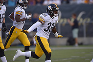 Canton, Ohio - August 9, 2015: #33 Alden Darby of the Pittsburgh Steelers runs onto the field with his teammates before the start of a preseason game against the Minnesota Vikings during the Hall of Fame game in Canton, Ohio, August 9, 2015.  (Photo by Don Baxter/Media Images International)