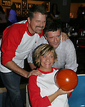 "(THESE three were at KIM & ROBERT NEWMAN's Meet 'N GREET TOO) - Guiding Light's Kim Zimmer and Robert Newman ""Reva and  Josh Lewis are joined by Jordan Clark ""Billy Lewis"" at the ""Bloss"" Bowling Event during the Guiding Light weekend on October 15, 2005 at the Port Authority, NY (Photo by Sue Coflin)"