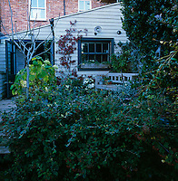 A view from a garden to the rear of a house with a timber clad extension, which leads to a decked terrace area.