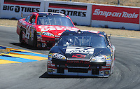 Jun. 21, 2009; Sonoma, CA, USA; NASCAR Sprint Cup Series driver Ryan Newman leads teammate Tony Stewart during the SaveMart 350 at Infineon Raceway. Mandatory Credit: Mark J. Rebilas-