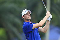 Thomas Pieters (Europe) on the 2nd tee during the Singles Matches of the Eurasia Cup at Glenmarie Golf and Country Club on the Sunday 14th January 2018.<br /> Picture:  Thos Caffrey / www.golffile.ie
