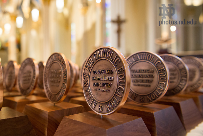 July 27, 2017; Medallions are arranged prior to the Alliance for Catholic Education (ACE) missioning Mass in the Basilica of the Sacred Heart. (Photo by Matt Cashore/University of Notre Dame)