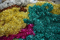 Pictured: A mixture of tinsel on the factory floor. Thursday 16 November 2017<br /> Re: Festive company which manufactures tinsel in Cwmbran, Wales, UK.