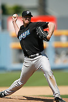 Roy Halladay of the Toronto Blue Jays during a game from the 2007 season at Dodger Stadium in Los Angeles, California. (Larry Goren/Four Seam Images)
