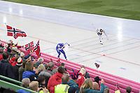 SPEEDSKATING: HAMAR: Vikingskipet, 28-02-2020, ISU World Speed Skating Championships, Sprint, 1000m Men, Håvard Holmefjord Lorentzen (NOR), Nico Ihle (GER), ©photo Martin de Jong