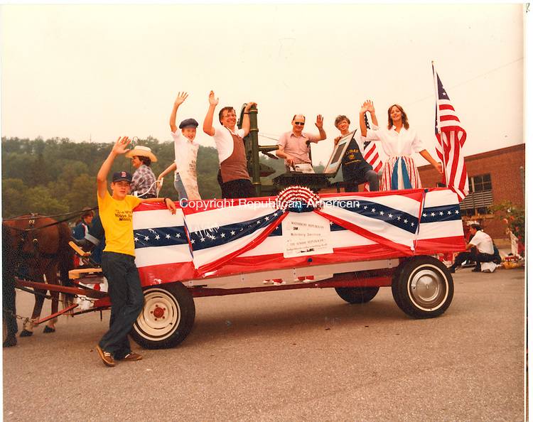 The Rep-Am printing press float, Waterbury 1981.