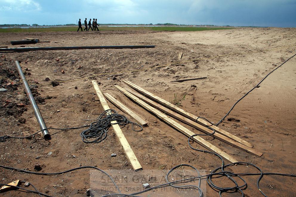 Construction work at the Zhalong Wetlands, Heilongjiang Province. China. 2011