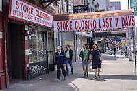 A lighting store goes out of business on the Bowery in New York, seen on Sunday, April 28, 2013. Many businesses on the Bowery and the neighboring area are being faced with higher rents as the juggernaut of gentrification, in the form of galleries, hotels and restaurants, invades the Bowery.(© Richard B. Levine)