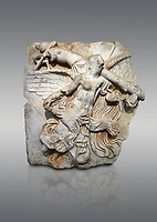 "Roman Sebasteion relief  sculpture of Victory of the Emperors, Aphrodisias Museum, Aphrodisias, Turkey. <br /> <br /> The inscription identifies the subject of the relief panel as the ""Victory of the Emperors"" (Neike Sebaston), and refers to the conquest of Armenia and Britannica in its adjacent relief panels. A half naked Victory flies diagonally across the panel, carrying a military trophy over her shoulder. A small winged Eros, now damaged was clinging to the end of the trophy pole. Victory was a key imperial attribute"
