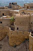 One of the ninety nine round BASTIONS on the outer wall of JAISALMER FORT built in 1156 on Trikuta Hill out of sandstone - RAJASTHAN, INDIA.