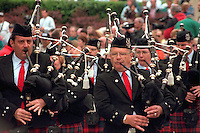 Bag pipers ages 50 marching in Memorial Day Service at Vietnam Wall. St Paul Minnesota USA